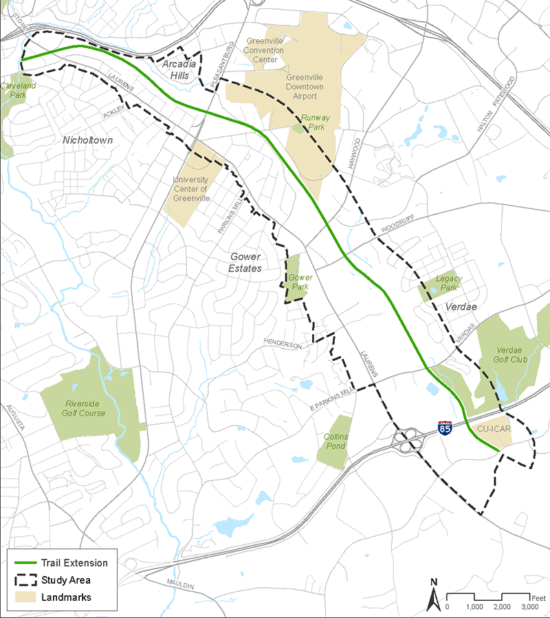 Map of Swamp Rabbit Trail Extension Master Plan study area